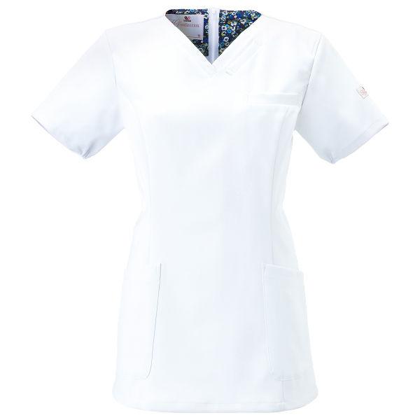 フォーク 医療白衣 ワコールHIコレクション レディススクラブ(後ろジップ) HI700-1 ホワイト L (直送品)