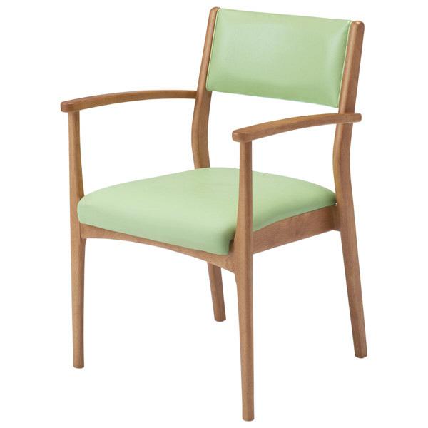 コイズミファニテック 介護施設用椅子 GMC-R1-LG-B ライトグリーン/ブラウン