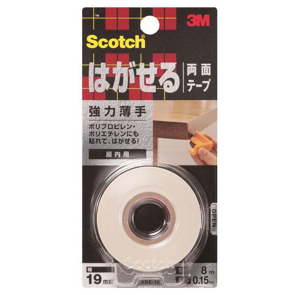 3M スコッチ(R) はがせる両面テープ 強力薄手 0.15m厚 幅19mm×8m巻 KRE-19 1セット(5巻:1巻×5) スリーエム ジャパン
