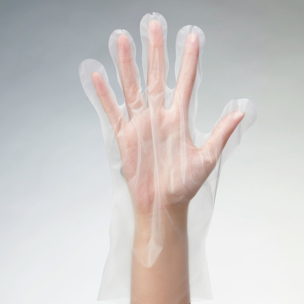 LDポリエチレン手袋 フィットタイプ M クリアー 外エンボス 1袋(100枚入) 川西工業