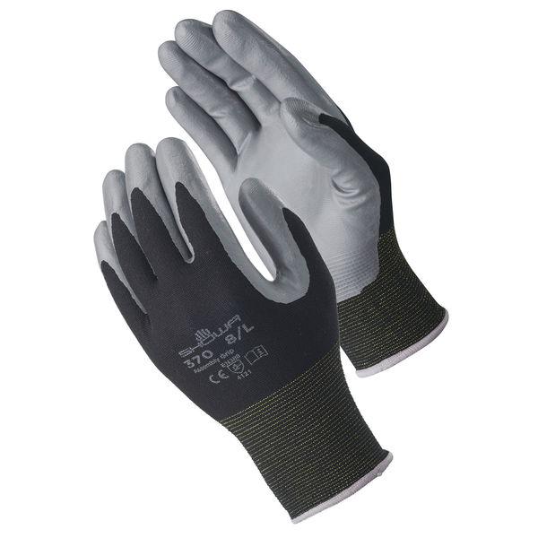 ニトリルゴム背抜き手袋 簡易包装組立グリップ S ブラック 30双 「現場のチカラ」 370 ショーワグローブ