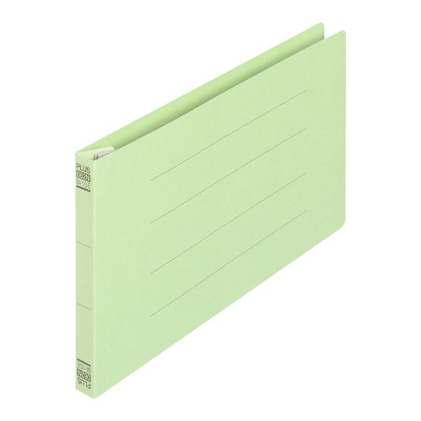 プラス フラットファイル(統一伝票用)樹脂製とじ具 背幅18mm グリーン NO.062N 76026 1セット(30冊)