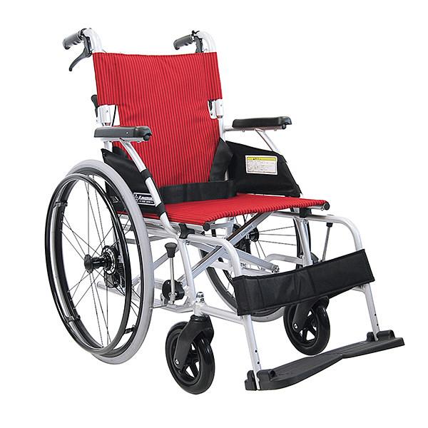 カワムラサイクル BMLシリーズ 車いす 赤ストライプ BML22-40SB 自走用 アルミ製 背折れ式 介助ブレーキ付き