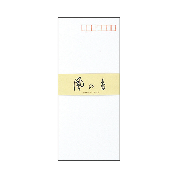 アピカ 封筒 長形4号 フウ36 風の香 白 1冊(10枚入り) 郵便番号枠あり 封かんテープ付き (直送品)