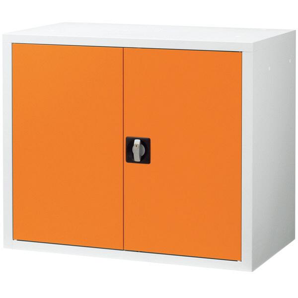 Ceha 深型スチール収納庫 両開き 2段 上置き用 オレンジ×ホワイト 幅880mm 奥行500mm 高さ730mm 1台 (取寄品)
