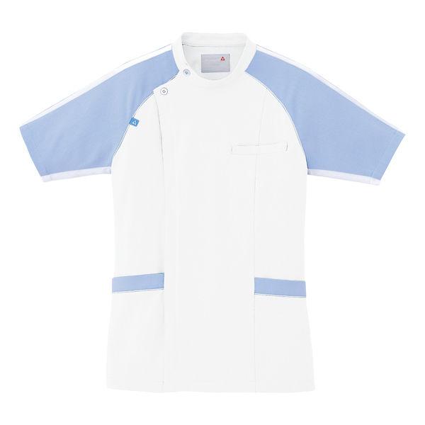 ルコックスポルティフ メンズジャケット(サイドファスナー 医務衣) UQM1001 ホワイト×ブルー EL (直送品)