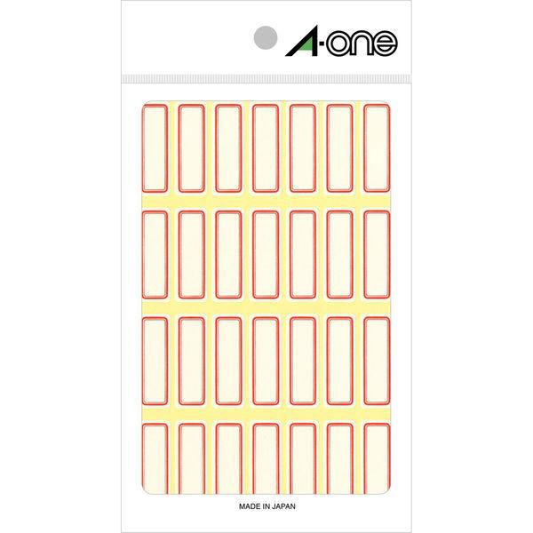 エーワン セルフラベル 整理・表示用 手書き用 上質紙 赤枠付き 1片(11×32mm) 1袋(18シート 504片入) 03002(取寄品)