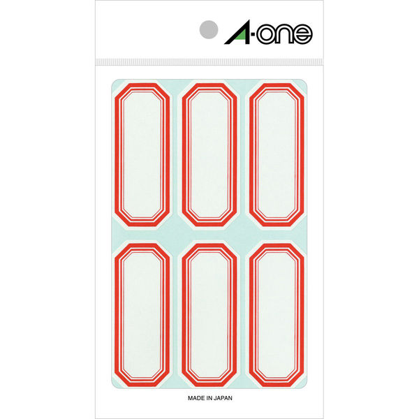 エーワン セルフ角ラベル 小 整理・表示用 手書き用 上質紙 赤枠付き 1片(27×65mm) 1袋(18シート 108片入) 05001(取寄品)