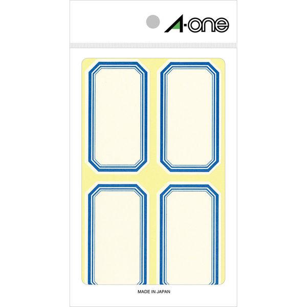 エーワン セルフ角ラベル 中 整理・表示用 手書き用 上質紙 青枠付き 1片(38×68mm) 1袋(18シート 72片入) 05005(取寄品)