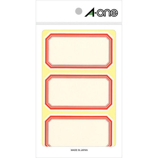 エーワン セルフ角ラベル 大 整理・表示用 手書き用 上質紙 赤枠付き 1片(44×80mm) 1袋(18シート 54片入) 05007(取寄品)