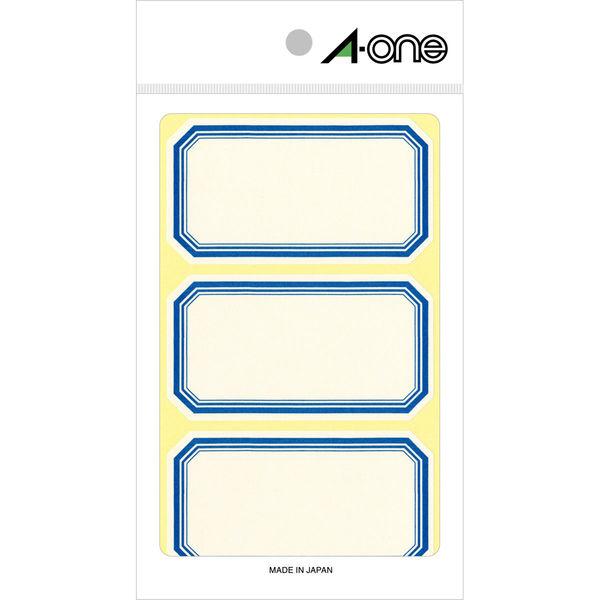エーワン セルフ角ラベル 大 整理・表示用 手書き用 上質紙 青枠付き 1片(44×80mm) 1袋(18シート 54片入) 05008(取寄品)