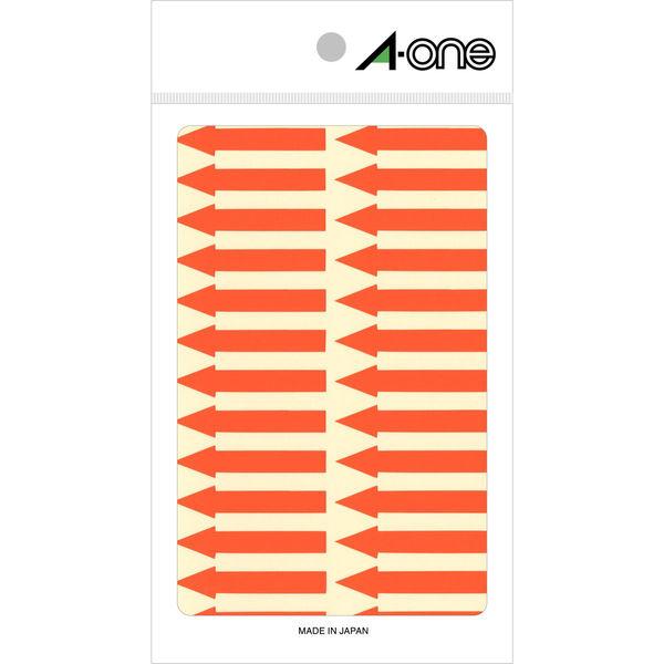 エーワン 矢印ラベル 整理・表示用 上質紙 蛍光赤色 1片(42×6mm) 1袋(4シート 104片入) 08065(取寄品)