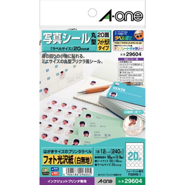 エーワン ラベルシール 写真シール インクジェット 光沢紙 白 はがきサイズ 20面 丸型 1袋(12シート入) 29604(取寄品)