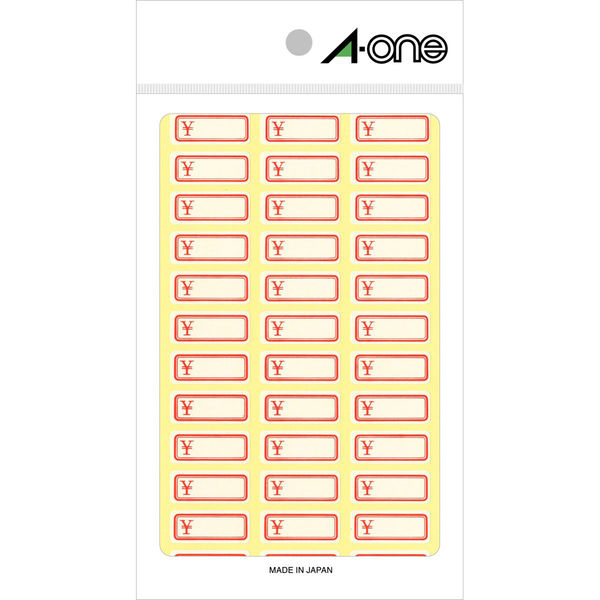 エーワン セルフラベル 赤枠(¥付き) 36面 03006 1袋(648片入) (取寄品)