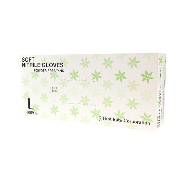 ニトリル手袋粉なしピンク L 100枚