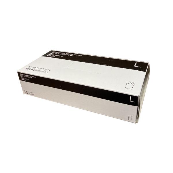 白ニトリル手袋 薄手 粉無 L 100枚