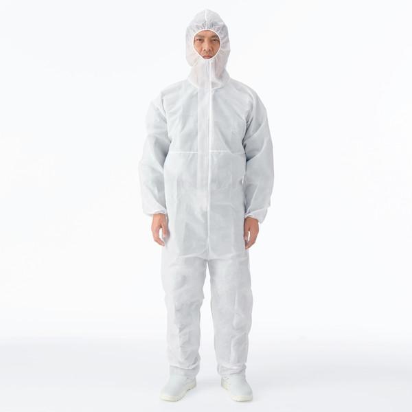 川西工業 「現場のチカラ」 不織布 使いきりつなぎ服 ホワイト L 1セット(30着:3着入×10袋)