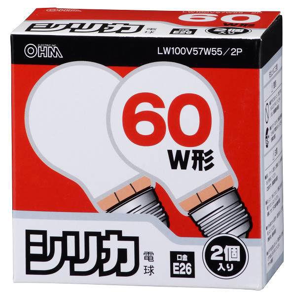 オーム電機 白熱電球60W LW100V57W55/2P 1箱(24個入)
