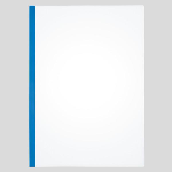 アスクル レール式クリアーホルダースリム(20枚綴じ) 青 A4タテ 1セット(200冊)