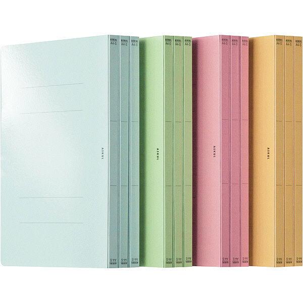 フラットファイル PPラミネート A4タテ 48冊 4色アソート アスクル