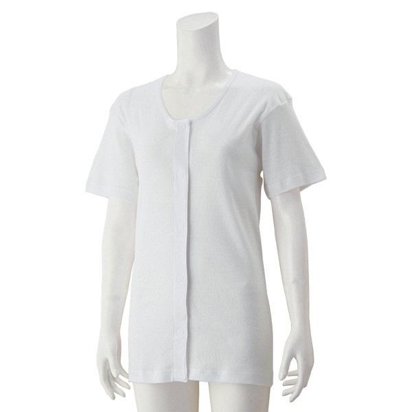 婦人3分袖ワンタッチシャツ ホワイト LL 01825-13 1セット(2枚組) (取寄品)