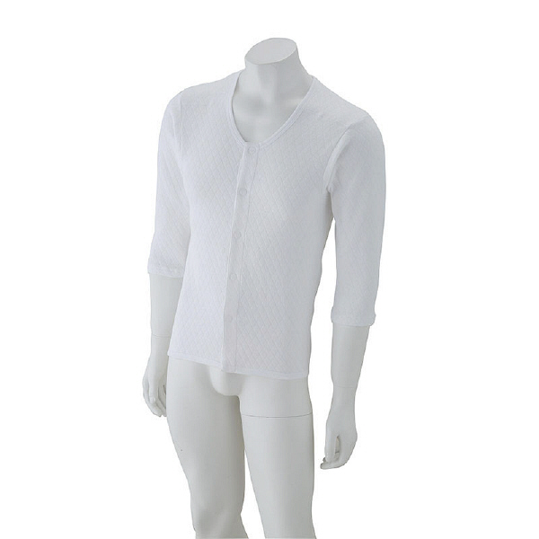 紳士8分袖キルトワンタッチシャツ ホワイト L 01928-12 (取寄品)