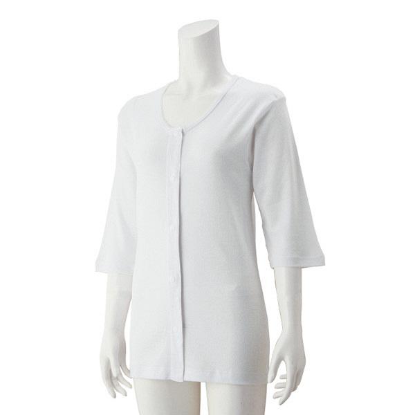 婦人7分袖大寸ホックシャツ ホワイト 5L 38117-14 (取寄品)