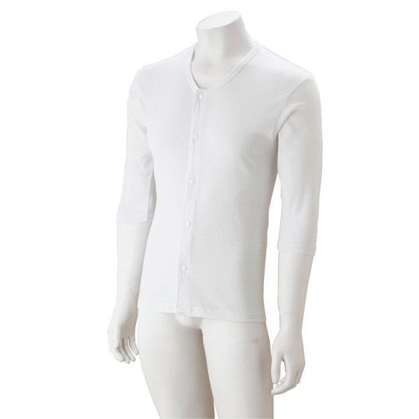 紳士7分袖大寸ホックシャツ ホワイト 3L 38127-05 (取寄品)