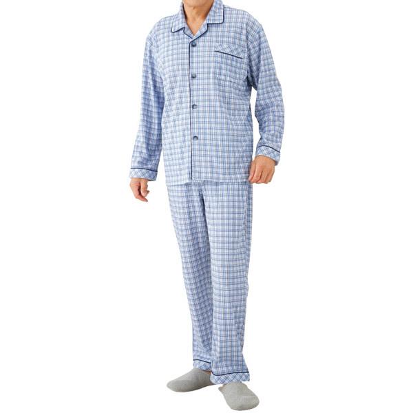 紳士ワンタッチテープパジャマ ブルー M 38750-01 1セット (取寄品)