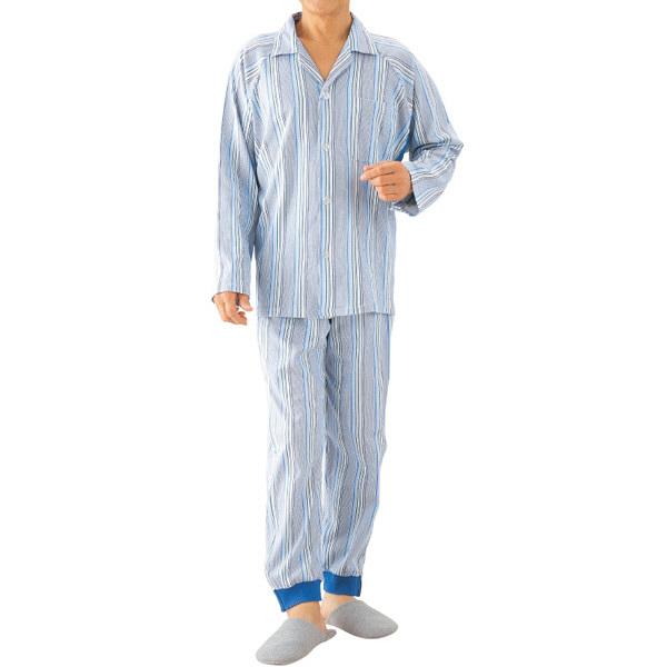 紳士介護フルオープンパジャマ ネイビー M 01885-01 1セット (取寄品)