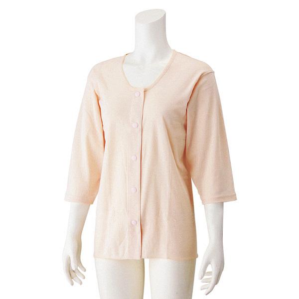 婦人7分袖ホックシャツ ピーチ L 39958-02 1セット(2枚組) (取寄品)