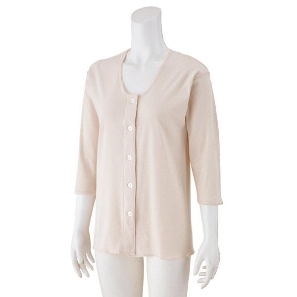 婦人7分袖大きめボタンシャツ ピーチ M 01824-01 1セット(2枚組) (取寄品)