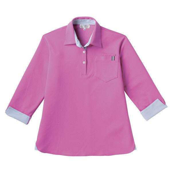 【メーカーカタログ】 トンボ キラク レディスニットシャツ ピンク L CR146-16 1枚  (取寄品)