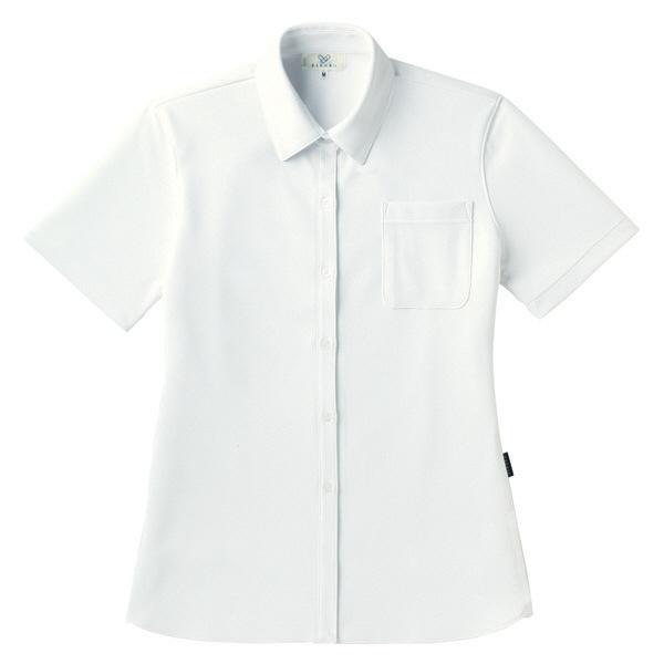 【メーカーカタログ】 トンボ キラク リュクス レディスニットシャツ 白 L CR163-01 1枚  (取寄品)
