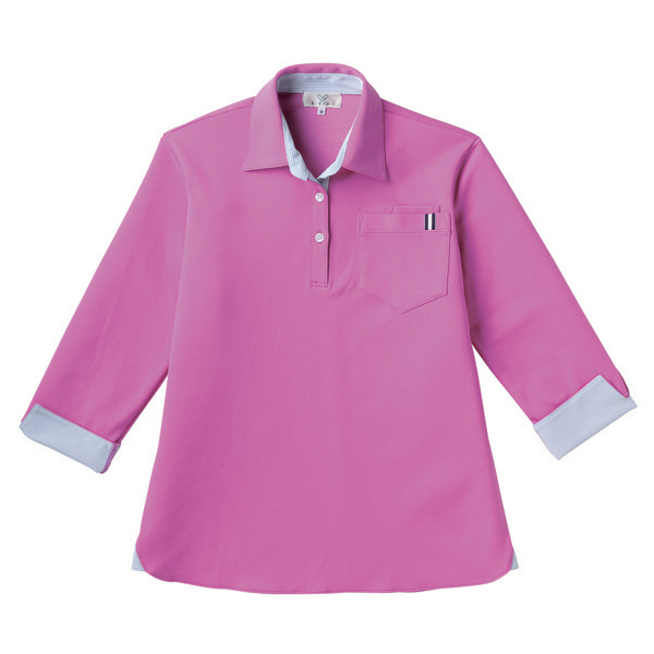 【メーカーカタログ】 トンボ キラク レディスニットシャツ ピンク 3L CR146-16 1枚  (取寄品)