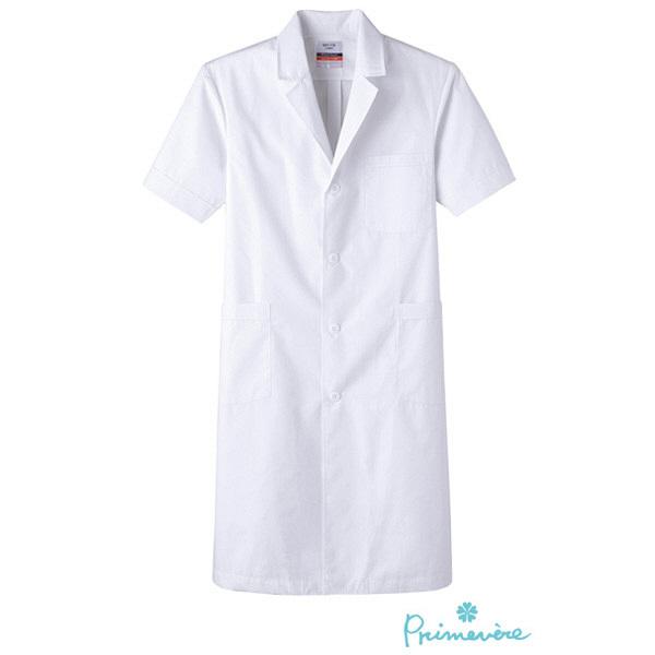 【メーカーカタログ】 メンズドクターコート半袖 ホワイト M MR-118 1枚  (取寄品)