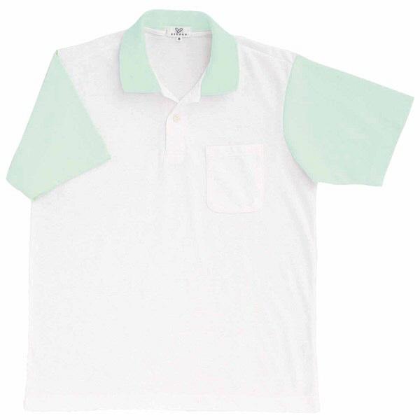 トンボ キラク ポロシャツ  白×ミント M CR024-40 1枚  (取寄品)