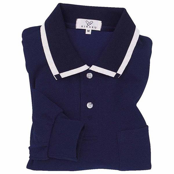 トンボ キラク 消臭長袖ポロシャツ  ネイビー L CR033-88 1枚  (取寄品)