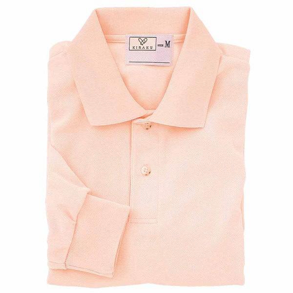 トンボ キラク 長袖ポロシャツ  オレンジピンク  M  M CR054-12 1枚  (取寄品)