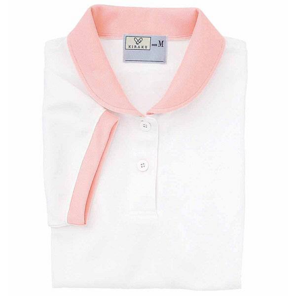 トンボ キラク ケアワークシャツ ホワイト S  S CR057-01 1枚  (取寄品)