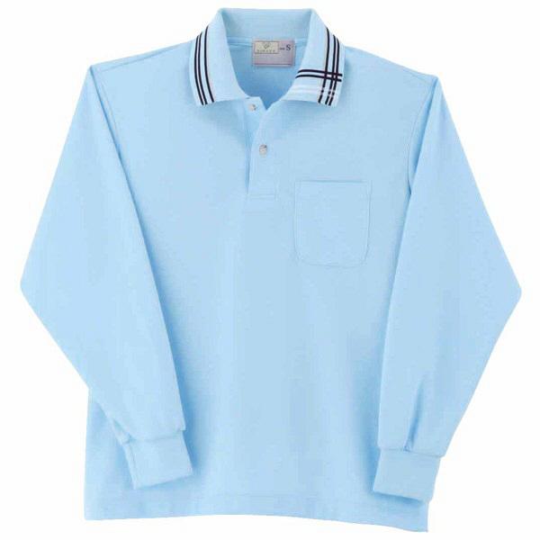 トンボ キラク 長袖ポロシャツ サックス  SS   SS CR116-72 1枚  (取寄品)