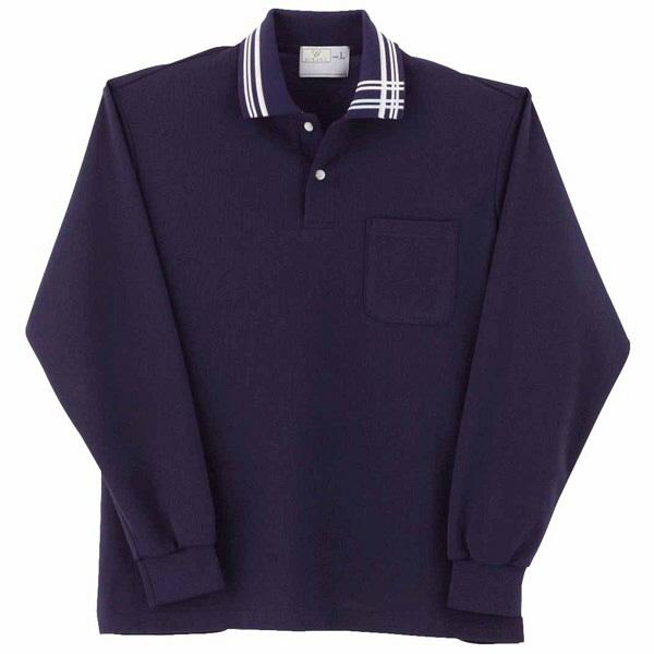 トンボ キラク 長袖ポロシャツ ネイビー  SS   SS CR116-88 1枚  (取寄品)