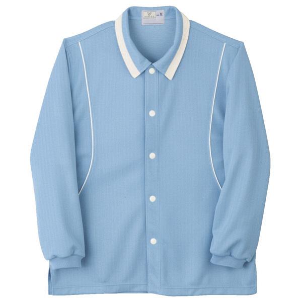 トンボ キラク 前開きニットシャツ サックス S CR832-70 1枚  (取寄品)