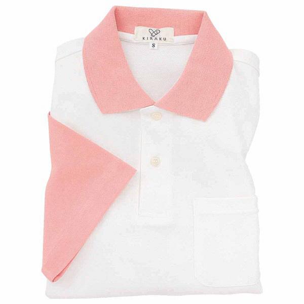 トンボ キラク ポロシャツ  白×オーキッドピンク SS CR024-13 1枚  (取寄品)
