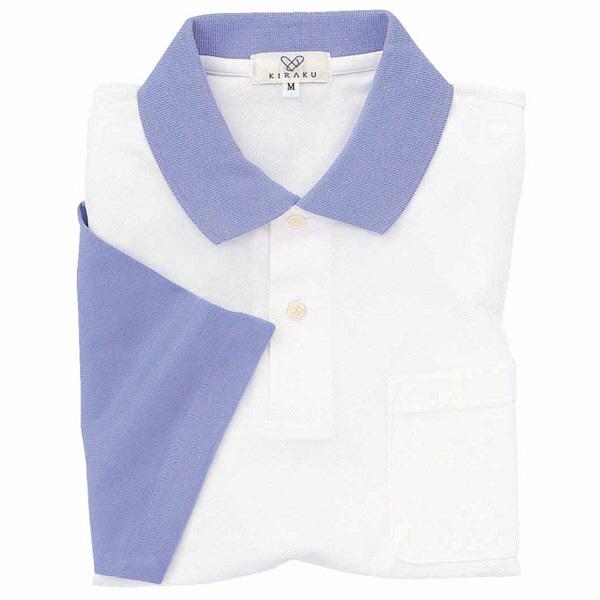 トンボ キラク ポロシャツ  白×ラベンダー L CR024-80 1枚  (取寄品)