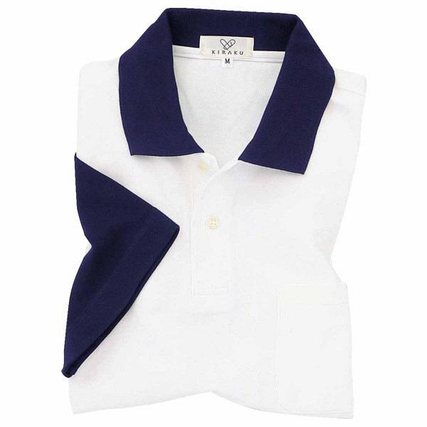 トンボ キラク ポロシャツ  白×ネイビー SS CR024-88 1枚  (取寄品)