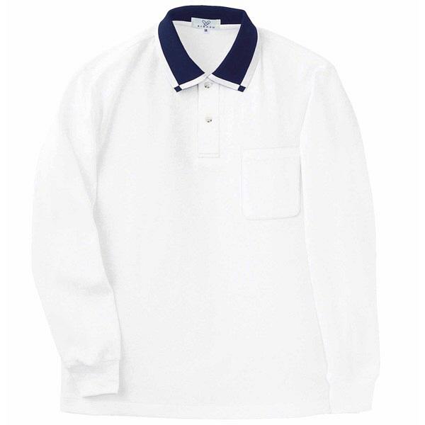 トンボ キラク 消臭長袖ポロシャツ  白 LL CR033-01 1枚  (取寄品)