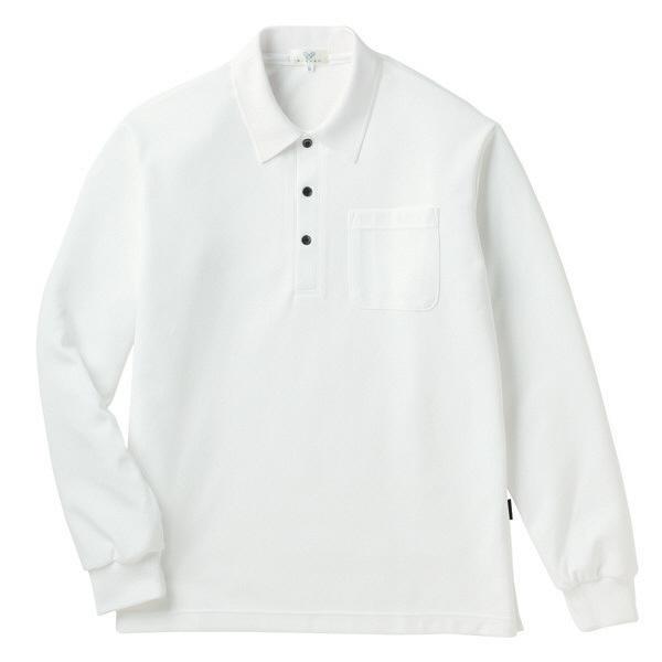 トンボ キラク 長袖ポロシャツ 白 L CR165-01 1枚  (取寄品)