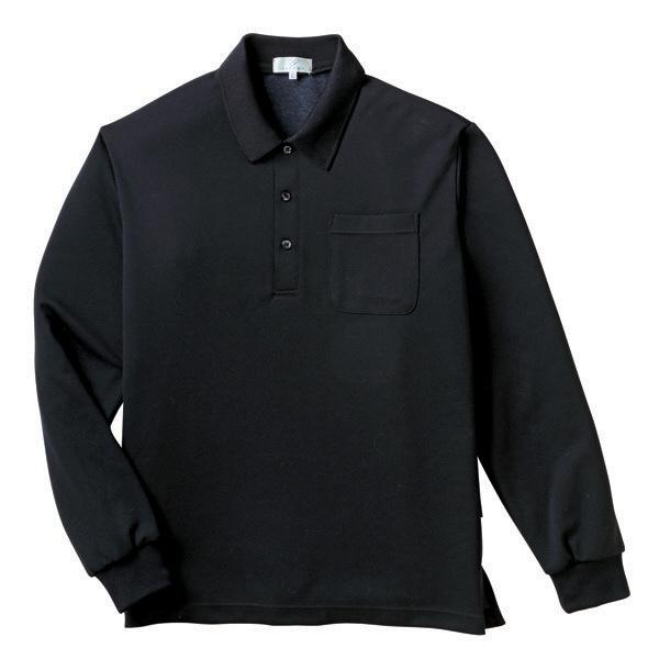 トンボ キラク 長袖ポロシャツ 黒 L CR165-09 1枚  (取寄品)