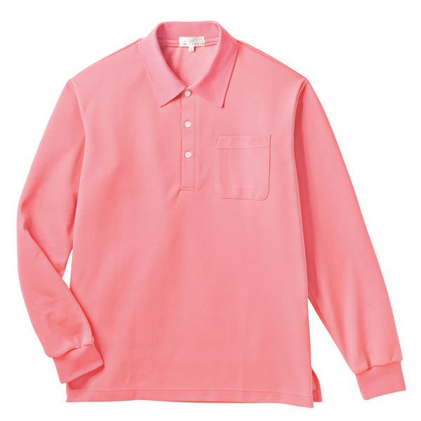 トンボ キラク 長袖ポロシャツ  ピーチ L CR165-11 1枚  (取寄品)
